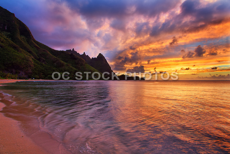 Golden Sunset on Ha'ena Beach of Kauai Hawaii