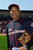 Hall of Fame shortstop Ozzie Smith #1 answers questions for the media before the MLB Pepsi Max Field of Dreams game on May 18, 2013 at Frontier Field in Rochester, New York.  (Mike Janes/Four Seam Images)
