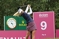 Pernilla Lindberg (SWE) tees off the 9th tee during Thursday's Round 1 of The Evian Championship 2018, held at the Evian Resort Golf Club, Evian-les-Bains, France. 13th September 2018.<br /> Picture: Eoin Clarke | Golffile<br /> <br /> <br /> All photos usage must carry mandatory copyright credit (© Golffile | Eoin Clarke)