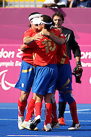 04.09.2012.  London, England. Spain celebrate after drawing 0-0 with Argentina in the Men's Football 5-a-side Preliminaries Pool A match between Spain and Argentina during Day 6 of the London Paralympics from the Riverbank Arena