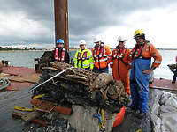 BNPS.co.uk (01202 558833)<br /> Pic: BNPS<br /> <br /> PICTURED: RETRIEVAL - engine of WW2 Barracuda plane from the Solent. <br /> <br /> Ever Ready - Archaeologists stunned after WW2 battery recovered from under the Solent still works.<br /> <br /> Maritime historians who have recovered the wreck of a rare wartime aircraft that has spent 76 years under water were stunned to find its battery still works.<br /> <br /> The Fairey Barracuda sea plane was found by accident during a seabed survey of the Solent ahead of the laying of an underwater electricity cable.<br /> <br /> The Royal Navy torpedo bomber ditched in the sea moments after taking off from HMS Daedelus at Lee-on-the-Solent, Hants, for a test flight in 1943.