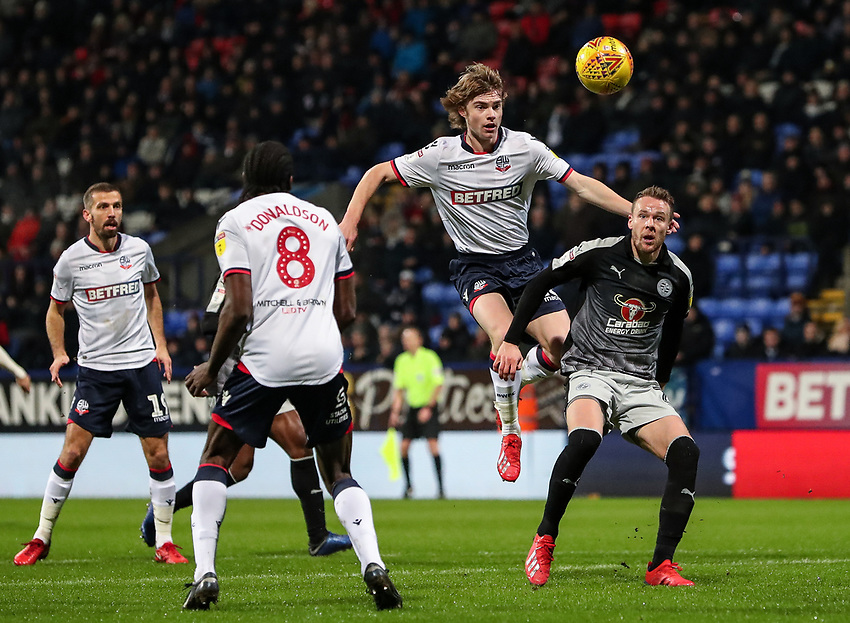 Bolton Wanderers' Luca Connell competing with Reading's Chris Gunter  <br /> <br /> Photographer Andrew Kearns/CameraSport<br /> <br /> The EFL Sky Bet Championship - Bolton Wanderers v Reading - Tuesday 29th January 2019 - University of Bolton Stadium - Bolton<br /> <br /> World Copyright © 2019 CameraSport. All rights reserved. 43 Linden Ave. Countesthorpe. Leicester. England. LE8 5PG - Tel: +44 (0) 116 277 4147 - admin@camerasport.com - www.camerasport.com