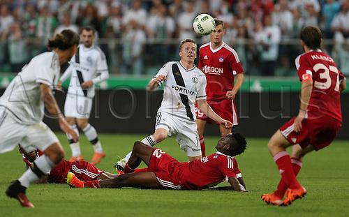03.08.2016, Warsaw, Poland,  Michal Kopczynski (Legia), Christopher Udeh (Trencin), Legia Warsaw versus AS Trencin, Champions League, qualification. The game  ended in a 0-0 draw with Legio going through on away goal.