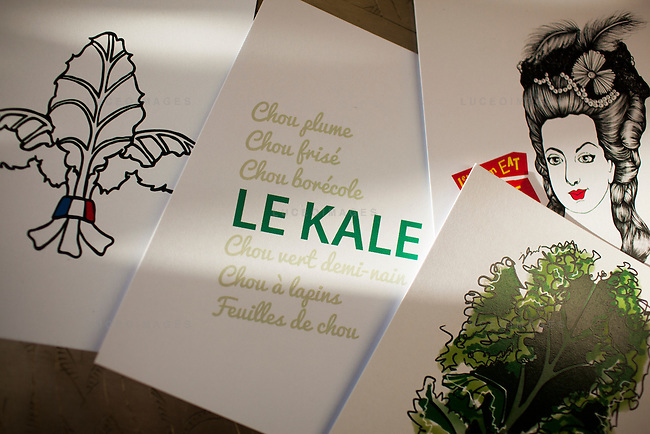 The Kale Project brand paraphernalia.<br /> <br /> Kristen Beddard, 29, of The Kale Project, in Paris, France.  Kevin German / Luceo