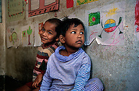 Boys in a community based daycare center in Dhaka, organized by Phulki. The center is located close to their homes and allows their mothers to go to work during the day.