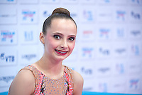 "September 10, 2015 - Stuttgart, Germany - CAMILLA FEELEY of USA smiles from ""kiss & cry"" after AA qualifications at 2015 World Championships."