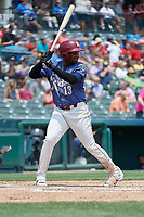 Frisco RoughRiders Juremi Profar (13) bats during a Texas League game against the Midland RockHounds on May 22, 2019 at Dr Pepper Ballpark in Frisco, Texas.  (Mike Augustin/Four Seam Images)