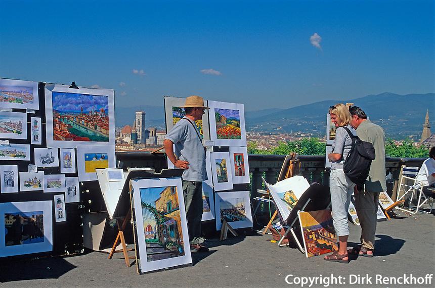 Italien, Toskana, Florenz, Strassenmaler auf Piazzale Michelangelo