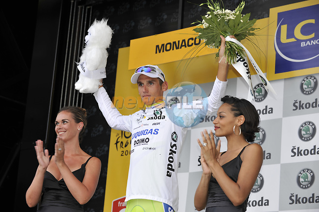 Roman Kreuziger (CZE) Liquigas takes the first Young Riders White Jersey on the podium at the end of the Prologue Stage 1 of the 2009 Tour de France a 15.5km individual time trial held around Monaco. 4th July 2009 (Photo by Eoin Clarke/NEWSFILE)