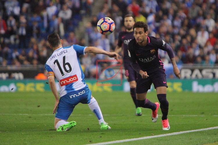 League Santander 2016/2017. Game: 35.<br /> RCD Espanyol vs FC Barcelona: 0-3.<br /> Javi Lopez vs Neymar.