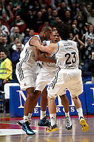 Real Madrid's Marcus Slaughter Sergio Llull and Dontaye Draper during Euroliga match. February 28,2013.(ALTERPHOTOS/Alconada)