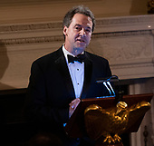 Governor Steve Bullock (Democrat of Montana) offers a toast at the 2019 Governors' Ball in the State Dining Room at the White House in Washington, DC on Sunday, February 24, 2019.<br /> Credit: Chris Kleponis / Pool via CNP