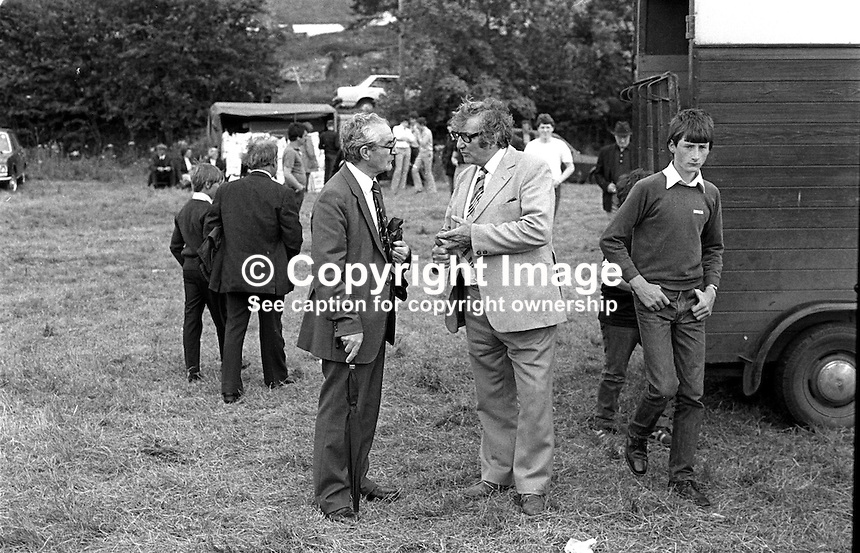 Milton McGrath, Lacklum, Ballintra, Co Donegal, right, meets a friend at Ardara Show August 1982. 19820800121m..Copyright Image from Victor Patterson, 54 Dorchester Park, Belfast, UK, BT9 6RJ.  Tel: +44 28 90661296  Mobile: +44 7802 353836.Email: victorpatterson@me.com Email: victorpatterson@gmail.com..For my Terms and Conditions of Use go to http://www.victorpatterson.com/ and click on Terms & Conditions