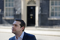 Pictured: Alexis Tsipras speaks to Greek media gathered outside 10 Downing Street after he met UK Prime Minister Theresa May in London, UK. Tuesday 26 June 2018<br /> Re: Greek Prime Minister Alexis Tsipras is on a three day visit to London, UK.
