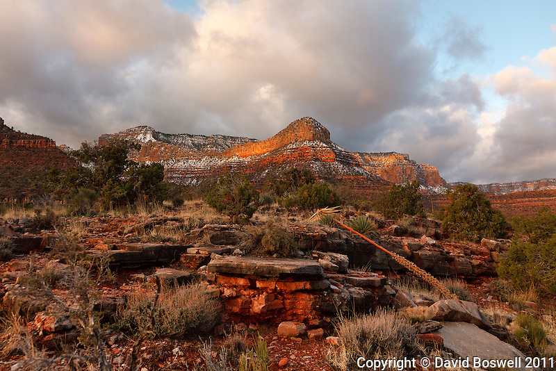 The rising sun lights the cliffs above Horseshoe Mesa in the Grand Canyon.