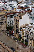 View of cityscape from the Giralda Tower, Seville, Andalusia, Spain.