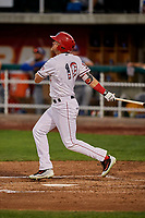 Brandon Marsh (10) of the Orem Owlz bats against the Ogden Raptors at Home of the Owlz on September 11, 2017 in Orem, Utah. Ogden defeated Orem 7-3 to win the South Division Championship. (Stephen Smith/Four Seam Images)