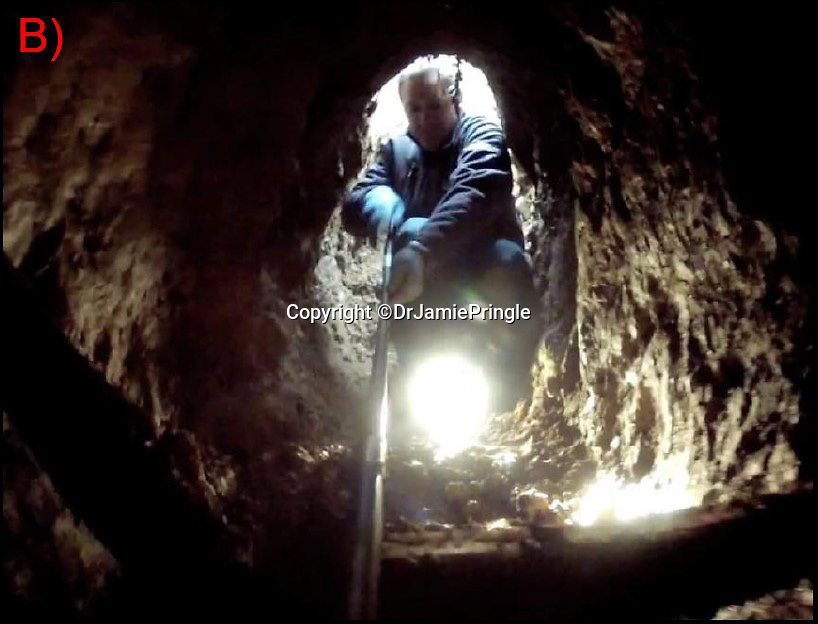 BNPS.co.uk (01202 558833)Pic: DrJamiePringle/BNPS<br /> <br /> Nick Russell investigating the tunnel...<br /> <br /> Die Grosse Flucht- The German Great Escape<br /> <br /> The incredible story of 84 Germans who escaped from a Welsh Prisoner of War Camp during World War Two has been retold after their hidden tunnel was discovered and excavated. <br /> <br /> On March 10 1945 a whole hut of captured Axis officers descended underground and successfully executed a brazen getaway in a scene reminiscent of those played out in the 1963 epic The Great Escape. <br /> <br /> Over 70 years later a team of scientists and historians entered the deserted Camp 198 in Bridgend to examine the only remnant of it, Hut 9, where the cunning plan was hatched. <br /> <br /> Dr Jamie Pringle, of Keele University in Staffordshire, who previously helped locate 'Dick', one of the three famous Great Escape tunnels at Stalag Luft III, led the investigation.