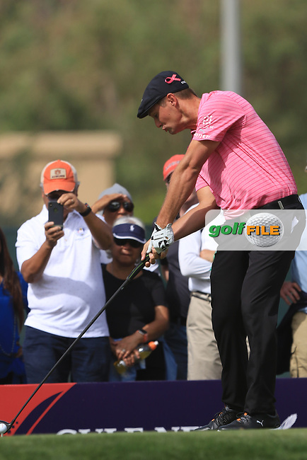 Bryson Dechambeau (USA) on the 3rd tee during Round 2 of the Omega Dubai Desert Classic, Emirates Golf Club, Dubai,  United Arab Emirates. 25/01/2019<br /> Picture: Golffile | Thos Caffrey<br /> <br /> <br /> All photo usage must carry mandatory copyright credit (© Golffile | Thos Caffrey)