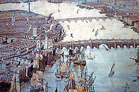 London: Historical Detail from Panorama around 1810. Bermondsey Waterfront--18th Century. Sufferance Wharves stand on the sites of Medieval Granaries. From CITY AND RIVER.   Reference only.