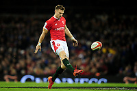 Dan Biggar of Wales kicks the ball into touch during the Guinness Six Nations Championship Round 3 match between Wales and France at the Principality Stadium in Cardiff, Wales, UK. Saturday 22 February 2020
