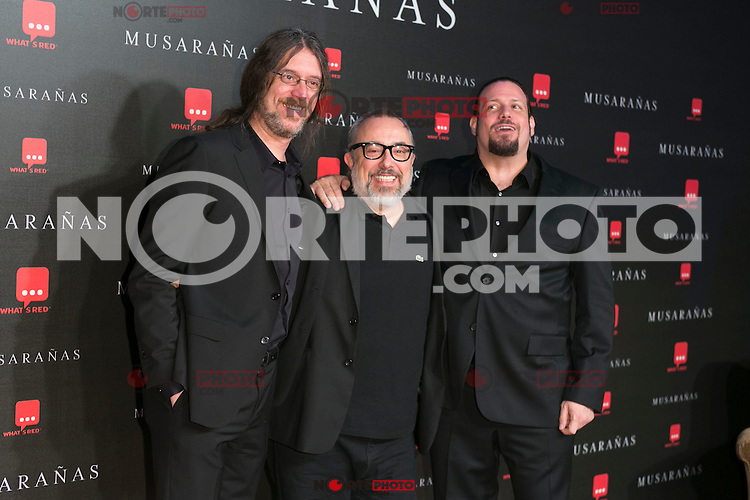 "Alex de la Iglesia Juanfer Andrés and Esteban Roel attend the Premiere of the movie ""Musaranas"" in Madrid, Spain. December 17, 2014. (ALTERPHOTOS/Carlos Dafonte) /NortePhoto /NortePhoto.com"