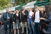 Camden Council Leader Sarah Hayward and Jon Snow, New Horizons crepe stall at launch of revamped Chalton Street market.