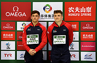 Gold medallists Tom Daley and Matty Lee waiting to receive their medals for winning the Men's 10m Synchro Platform <br /> <br /> Photographer Hannah Fountain/CameraSport<br /> <br /> FINA/CNSG Diving World Series 2019 - Day 1 - Friday 17th May 2019 - London Aquatics Centre - Queen Elizabeth Olympic Park - London<br /> <br /> World Copyright © 2019 CameraSport. All rights reserved. 43 Linden Ave. Countesthorpe. Leicester. England. LE8 5PG - Tel: +44 (0) 116 277 4147 - admin@camerasport.com - www.camerasport.com