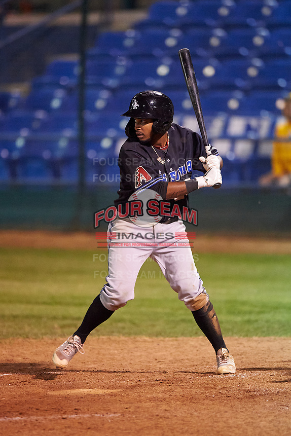 Missoula Osprey Jose Reyes (20) at bat during a Pioneer League game against the Great Falls Voyagers at Centene Stadium at Legion Park on August 19, 2019 in Great Falls, Montana. Missoula defeated Great Falls 1-0 in the second game of a doubleheader. (Zachary Lucy/Four Seam Images)