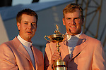 Swedish team members Henrik Stenson and Robert Karlsson, part of the victorious European Team, hold the Ryder Cup during the closing ceremony of the 2006 Ryder Cup at The K Club..Photo: Eoin Clarke/Newsfile.