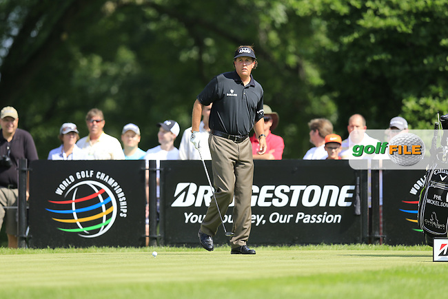Phil Mickelson (USA) on the 14th tee during Friday's Round 1 of the 2013 Bridgestone Invitational WGC tournament held at the Firestone Country Club, Akron, Ohio. 2nd August 2013.<br /> Picture: Eoin Clarke www.golffile.ie