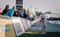 Eli Iserbyt (BEL/Marlux-Bingoal) crossing the finish line<br /> <br /> Superprestige Ruddervoorde 2018 (BEL)