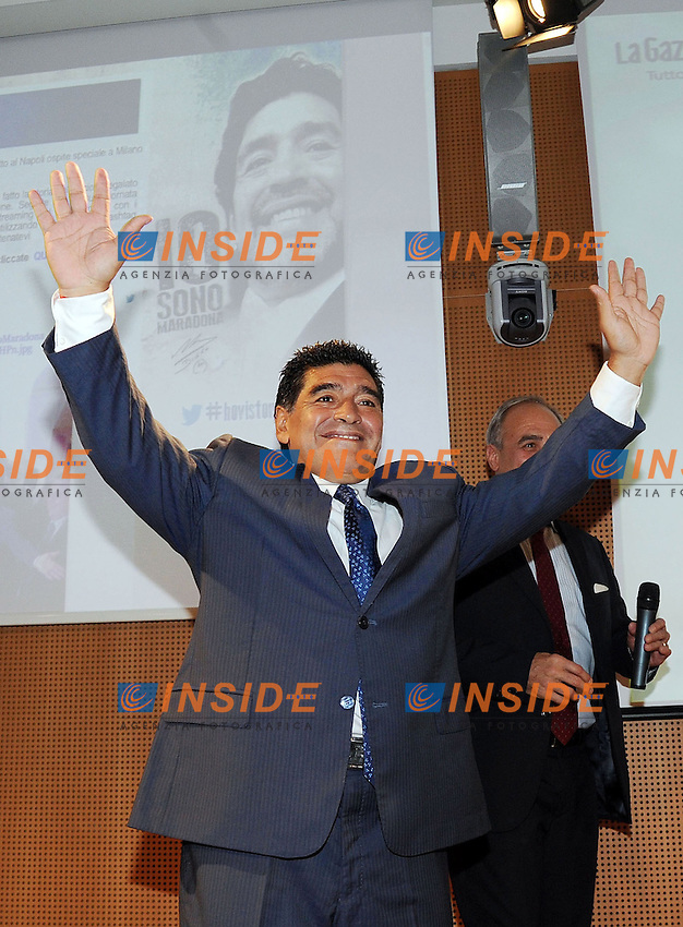 Diego Armando Maradona <br /> Milano 17-10-2013 Sala Buzzati <br /> Presentazione del dvd 'Maradona - Non saro' mai un uomo comune' . Introduction of DVD 'Maradona - I will never be a common man&quot;<br /> foto Andrea Ninni/Image Sport/Insidefoto