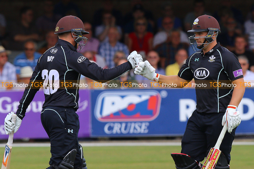 Jason Roy (L) and Aaron Finch of Surrey during Essex Eagles vs Surrey, Royal London One-Day Cup Cricket at the Essex County Ground on 24th July 2016