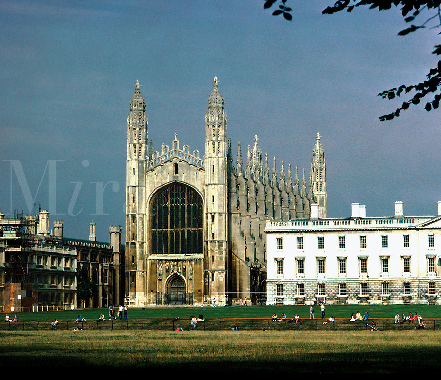 Kings College as seen from across the river Cam. Cambridge England Great Britain East Anglia.