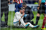 Sergio Ramos of Real Madrid gets injured during the La Liga 2017-18 match between Atletico de Madrid and Real Madrid at Wanda Metropolitano  on November 18 2017 in Madrid, Spain. Photo by Diego Gonzalez / Power Sport Images