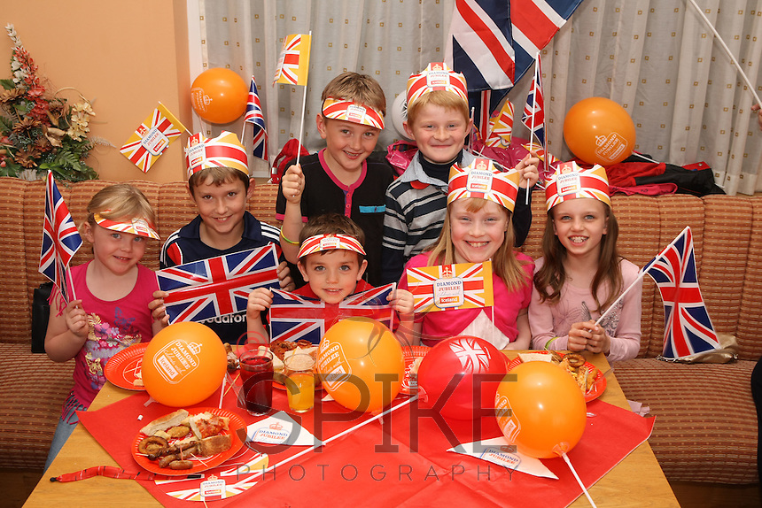 Pictured from left are Amelia Wood, 5, Peter Grice, 11, Sean Roberts, 4, Harry Ward, 7, Thomas Levell, 7, Olivia Levell, 9 and Ffion Roberts, 9 at the Mansfield Colliery Welfare Jubilee party won through Iceland by Walter Pitchford