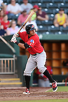 Frisco Rough Riders second baseman Edwin Garcia (2) at bat during a game against the Springfield Cardinals on June 1, 2014 at Hammons Field in Springfield, Missouri.  Springfield defeated Frisco 3-2.  (Mike Janes/Four Seam Images)