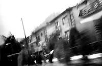 BOSNIA-HERZEGOVINA, Belgrade-Sarajevo Road, 03/2003..The is the first picture I've taken in Bosnia. It was impossible to take pictures at the controle pass border where we had to wait 2 hours.  .BOSNIE-HERZEGONVINE, Route Belgrade-Sarajevo, 03/2003..Photo prise depuis le bus qui relie Belgrade à Sarajevo. C'est la première photo prise en Bosnie. C'était impossible de prendre des photos au poste frontière où nous avons attendu 2 heures. © Bruno Cogez / Est&Ost Photography.