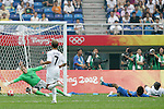 07 August 2008: Brad Guzan (USA) (18) dives for a Japan shot, but it rolls wide of the goal.  The men's Olympic team of the United States defeated the men's Olympic soccer team of Japan 1-0 at Tianjin Olympic Center Stadium in Tianjin, China in a Group B round-robin match in the Men's Olympic Football competition.