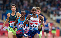 Mo FARAH of GBR leads with 1 lap to go in the 3000 metres during the Muller Grand Prix Birmingham Athletics at Alexandra Stadium, Birmingham, England on 20 August 2017. Photo by Andy Rowland.