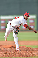 Johnson City Cardinals pitcher Kender Villegas #50 delivers a pitch during a game against the Bristol Pirates at Howard Johnson Field July 20, 2014 in Johnson City, Tennessee. The Pirates defeated the Cardinals 4-3. (Tony Farlow/Four Seam Images)