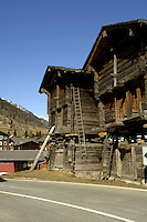Wooden chalets/shed used for housing animals and storing fodder in the winter.Ritzingen in the Swiss alps- close to the Furkapass, Oberwald, Switzerland.