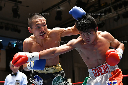(L-R) Hidenori Otake (JPN), Jelbirt Gomera (PHI),<br /> MARCH 17, 2017 - Boxing :<br /> Hidenori Otake of Japan in action against Jelbirt Gomera of Philippines during the second round of the vacant OPBF super bantamweight title bout at Korakuen Hall in Tokyo, Japan. (Photo by Hiroaki Yamaguchi/AFLO)