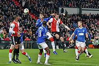 28th November 2019, Rotterdam, Netherlands; Europa League football, Feyenoord versus Glasgow Rangers;  Feyenoord player MarcSenesi wins the header for Feyenoord - Editorial Use
