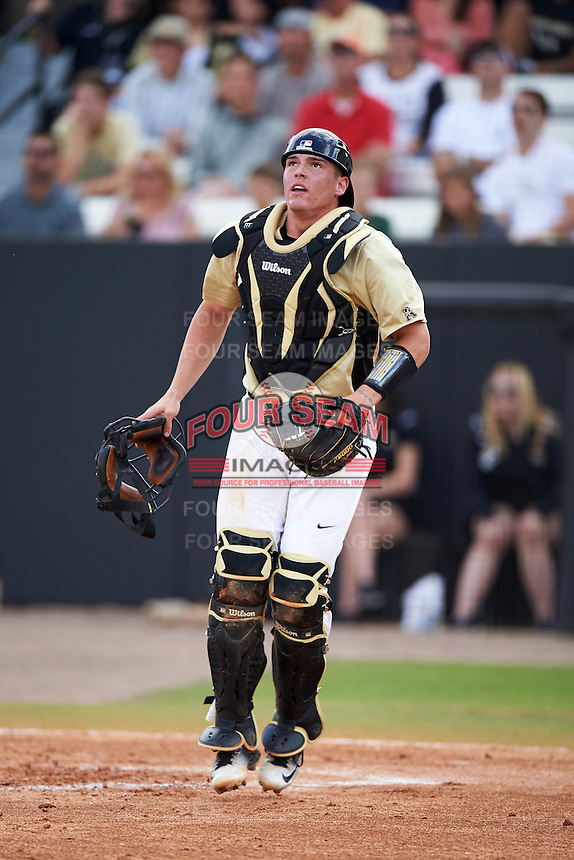 UCF Knights catcher Matt Diorio (14) watches a foul ball during a game against the Siena Saints on February 21, 2016 at Jay Bergman Field in Orlando, Florida.  UCF defeated Siena 11-2.  (Mike Janes/Four Seam Images)