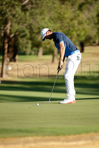26.02.2016. Perth, Australia. ISPS HANDA Perth International Golf. Lucas Bjerregaard (DEN) putts on the 10th green during day 2.
