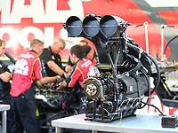 Sep 4, 2017; Clermont, IN, USA; Detailed view of the injector scoop and supercharger blower for the engine of NHRA top fuel driver Doug Kalitta during the US Nationals at Lucas Oil Raceway. Mandatory Credit: Mark J. Rebilas-USA TODAY Sports
