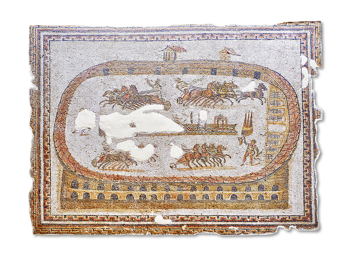 Late 2nd early 3rd century AD Roman mosaic depictiong a  chariot race at the circus. From Cathage, Tunisia.  The Bardo Museum, Tunis, Tunisia. White Background.