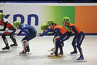 SHORTTRACK: DORDRECHT: Sportboulevard Dordrecht, 24-01-2015, ISU EK Shorttrack, Relay, Arianna FONTANA (ITA | #128), Arianna VALCEPINA (ITA | #131), Yara VAN KERKHOF (NED | 138), Lara VAN RUIJVEN (NED) | #139), ©foto Martin de Jong
